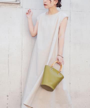 natural couture(ナチュラルクチュール) 綿麻フリンジテントラインワンピース