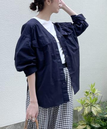 CAPRICIEUX LE'MAGE(カプリシュレマージュ) 〈WEB限定〉BIGポケットノーカラーシャツジャケット