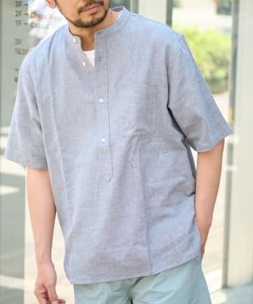 CIAOPANIC TYPY(チャオパニックティピー) パナマ織り半袖バンドカラーシャツ