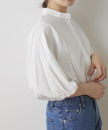NICE CLAUP OUTLET(ナイスクラップ アウトレット) 袖ボリューム刺繍バンドカラーシャツ