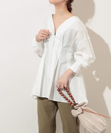 natural couture(ナチュラルクチュール) 【WEB限定カラー有り】おしゃれタック2WAY大人ブラウス