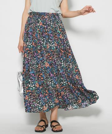 La boutique BonBon(ラブティックボンボン) 【手洗い可】フラワーギャザープリントスカート