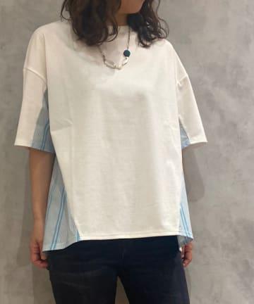 Pal collection(パルコレクション) 《サイド柄ですっきり効果◎》ストライプTシャツ