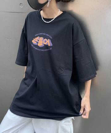 RASVOA(ラスボア) ハングル配色ステッチTシャツ