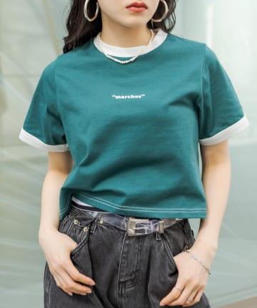 RASVOA(ラスボア) ワンポイントロゴリンガーTシャツ