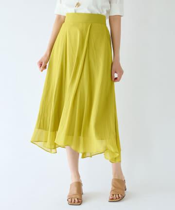 La boutique BonBon(ラブティックボンボン) 《予約》【洗える】割繊シフォンラップ風フレアスカート
