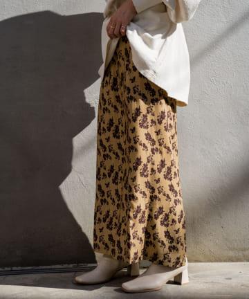 OUTLET(アウトレット) 【Kastane】配色花柄Iラインスカート