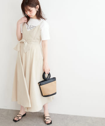 natural couture(ナチュラルクチュール) 【WEB限定】バックリボンキャミワンピース