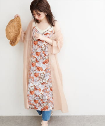 natural couture(ナチュラルクチュール) 【WEB限定】シアーガウン×水彩フラワーキャミワンピース