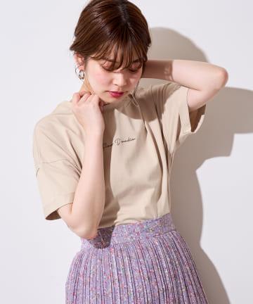 natural couture(ナチュラルクチュール) 袖口ロールアップシルケットロゴT