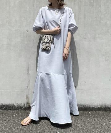 DOUDOU(ドゥドゥ) 【WEB限定】バルーンスリーブ裾切替ワンピース