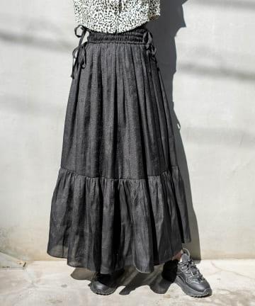 RASVOA(ラスボア) サイドリボンシャーリングロングスカート