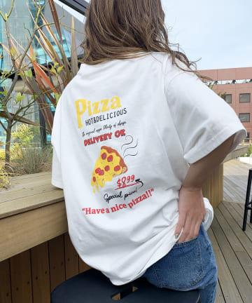 RASVOA(ラスボア) PIZZAプリントTシャツ