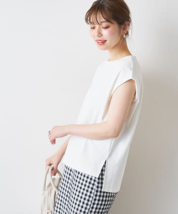 natural couture(ナチュラルクチュール) 袖口タック厚手ノースリT