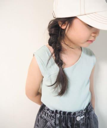 CIAOPANIC TYPY(チャオパニックティピー) 【KIDS】アシメショルダーテレコタンクトップ