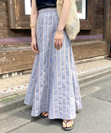 SHENERY(シーナリー) 切替ストライプフレアマキシスカート