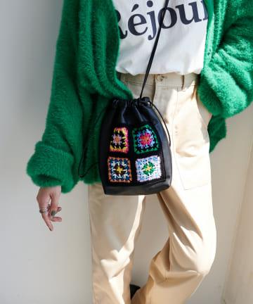 Discoat(ディスコート) 【Casselini/キャセリーニ】クロシェ巾着バッグ