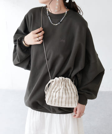Discoat(ディスコート) 【Casselini/キャセリーニ】フェイクレザービーズ巾着ショルダーバッグ