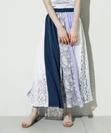 prose verse(プロズヴェール) 【ウエストゴム仕様】レース×プリント配色切替スカート