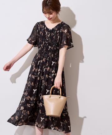 natural couture(ナチュラルクチュール) 【着用動画&解説あり】フレアスリーブお上品ワンピース