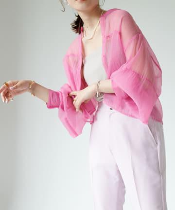 Discoat(ディスコート) ショート丈シアーバンドカラーシャツ