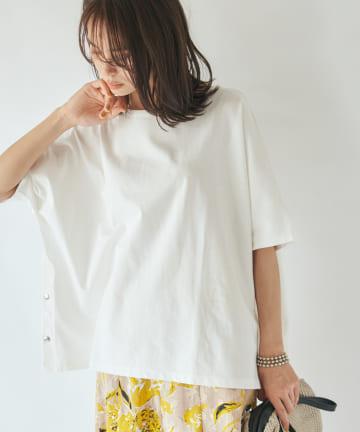 La boutique BonBon(ラブティックボンボン) 【手洗い可】サイドドット釦ビッグTシャツ