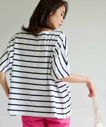 La boutique BonBon(ラブティックボンボン) 【洗える】サイドドット釦ボーダービッグTシャツ