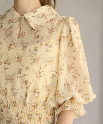 one after another NICE CLAUP(ワンアフターアナザー ナイスクラップ) 【Cherie chuu】big collar shirring blouse