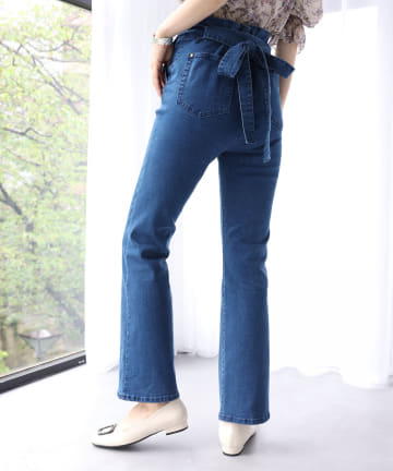 one after another NICE CLAUP(ワンアフターアナザー ナイスクラップ) 【Cherie chuu】ribbon straight denim