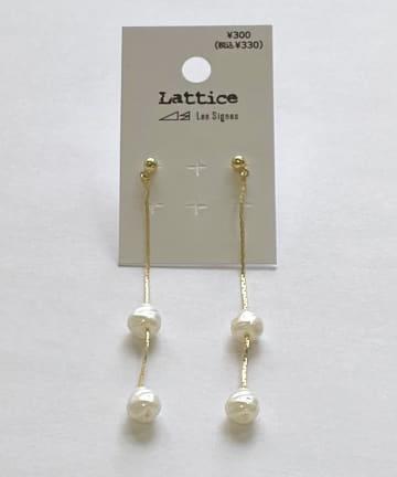 Lattice(ラティス) 淡水パール下がりピアス