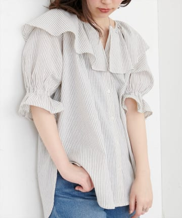 natural couture(ナチュラルクチュール) ビッグ衿ストライプブラウス