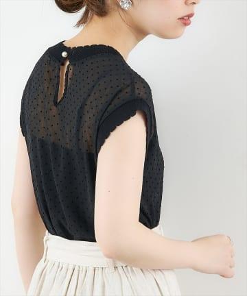 natural couture(ナチュラルクチュール) ドットフロッキー×ニットシアープルオーバー