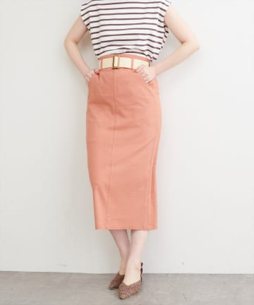 natural couture(ナチュラルクチュール) ストレッチリネンベルト付タイトスカート