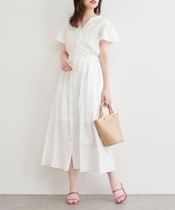 natural couture(ナチュラルクチュール) ストライプ綿レースお上品ワンピース