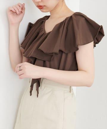 natural couture(ナチュラルクチュール) 【WEB限定カラー有り】ラッフルフリルT