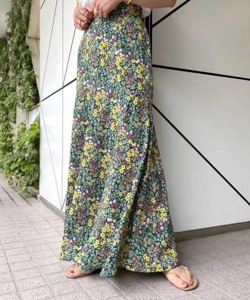SHENERY(シーナリー) フラワープリント切替マキシスカート