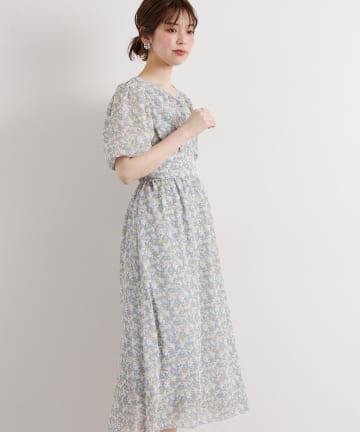 natural couture(ナチュラルクチュール) 配色小花柄バルーンワンピース