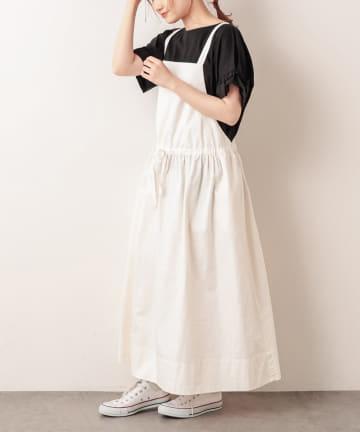 pual ce cin(ピュアルセシン) 綿麻ツイルジャンバースカート