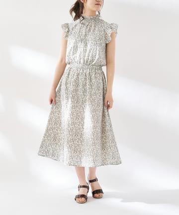 OLIVE des OLIVE OUTLET(オリーブ・デ・オリーブ アウトレット) 衿シャーリングフリルスリーブワンピース
