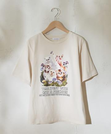 OLIVE des OLIVE OUTLET(オリーブ・デ・オリーブ アウトレット) CATプリントTシャツ