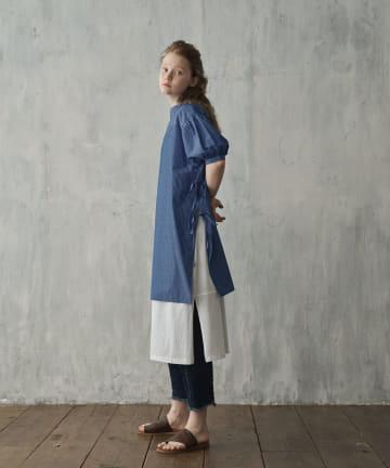 pual ce cin(ピュアルセシン) 【Du noir】ロゴ刺繍シルケットカットワンピース