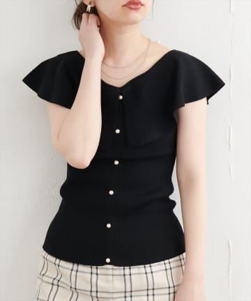natural couture(ナチュラルクチュール) パール釦デザインひらっと衿ニット
