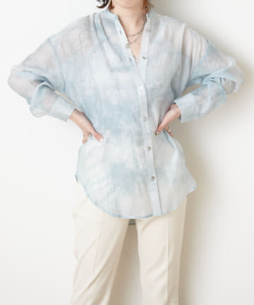 NICE CLAUP OUTLET(ナイスクラップ アウトレット) タイダイ柄バンドカラーシャツ