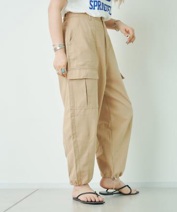 CPCM(シーピーシーエム) スラブ風ツイル裾ダーツカーゴパンツ