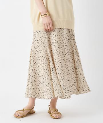un dix cors(アンディコール) 【女性らしく着こなせる】リーフ柄マーメードフレアスカート