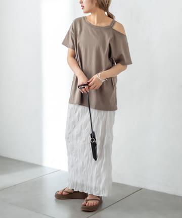 mystic(ミスティック) 肩開きデザインTシャツ