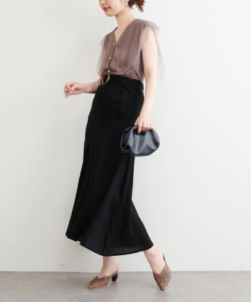 natural couture(ナチュラルクチュール) 斜めきりかえリネンスカート