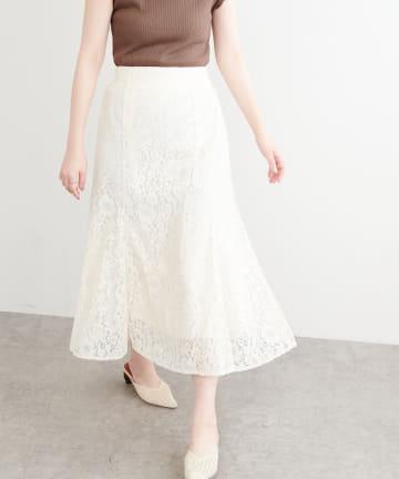 natural couture(ナチュラルクチュール) フラワーレースゆるフレアスカート