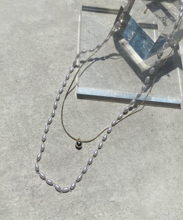 Lattice(ラティス) パール×ゴールド2連ネックレス