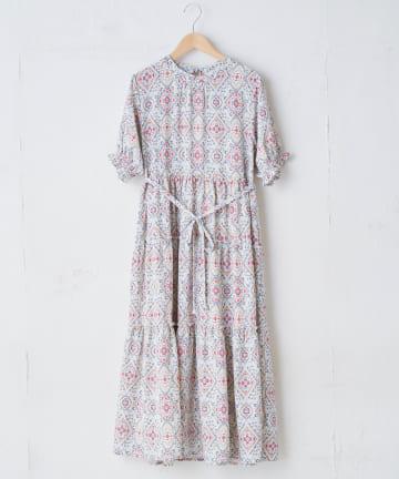 OLIVE des OLIVE OUTLET(オリーブ・デ・オリーブ アウトレット) 【dessert sunflower】Damask pattern dress